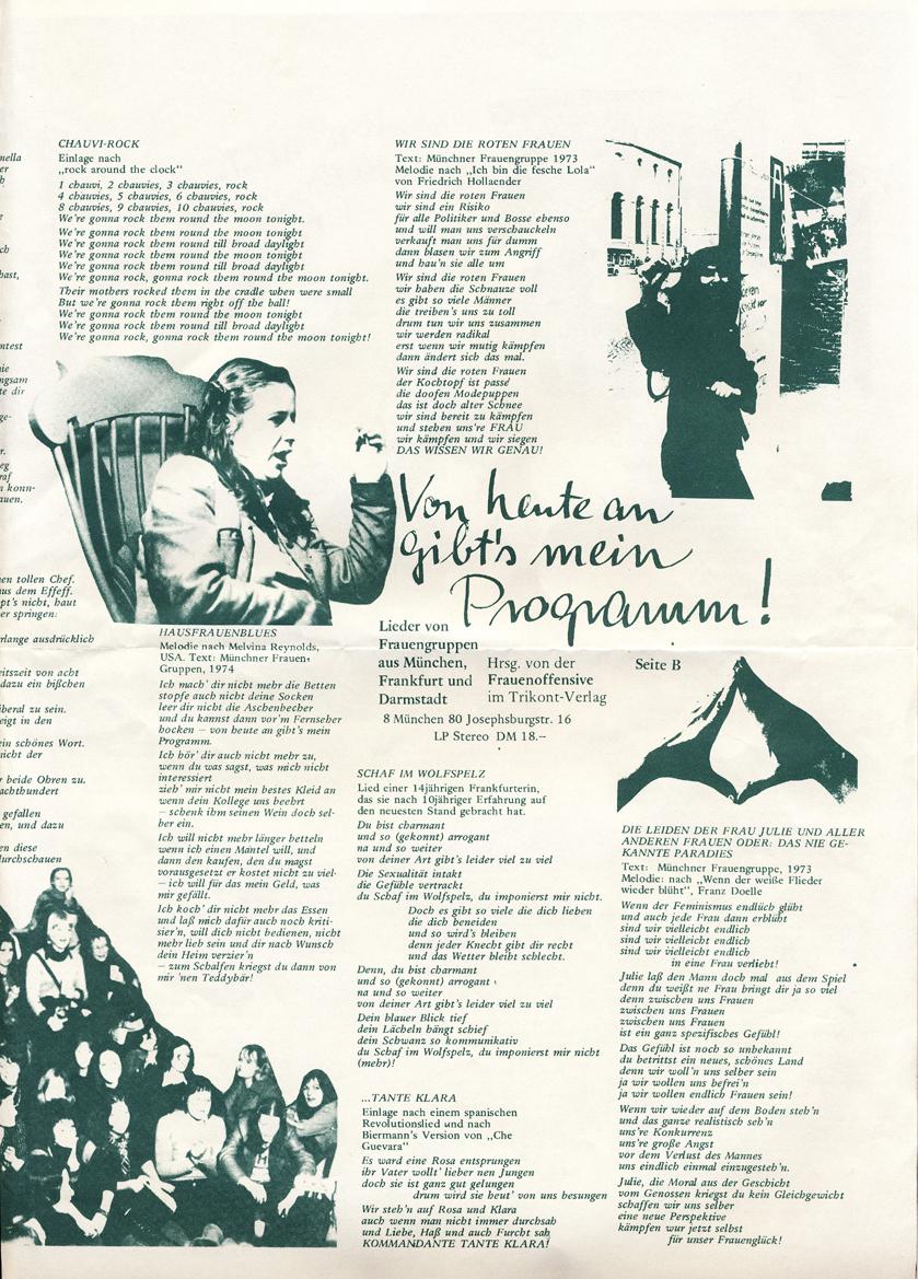Lieder Von Frauen – Von heute an gibt's mein Programm! (Von Frauengruppen aus München, Frankfurt und Darmstadt) 5