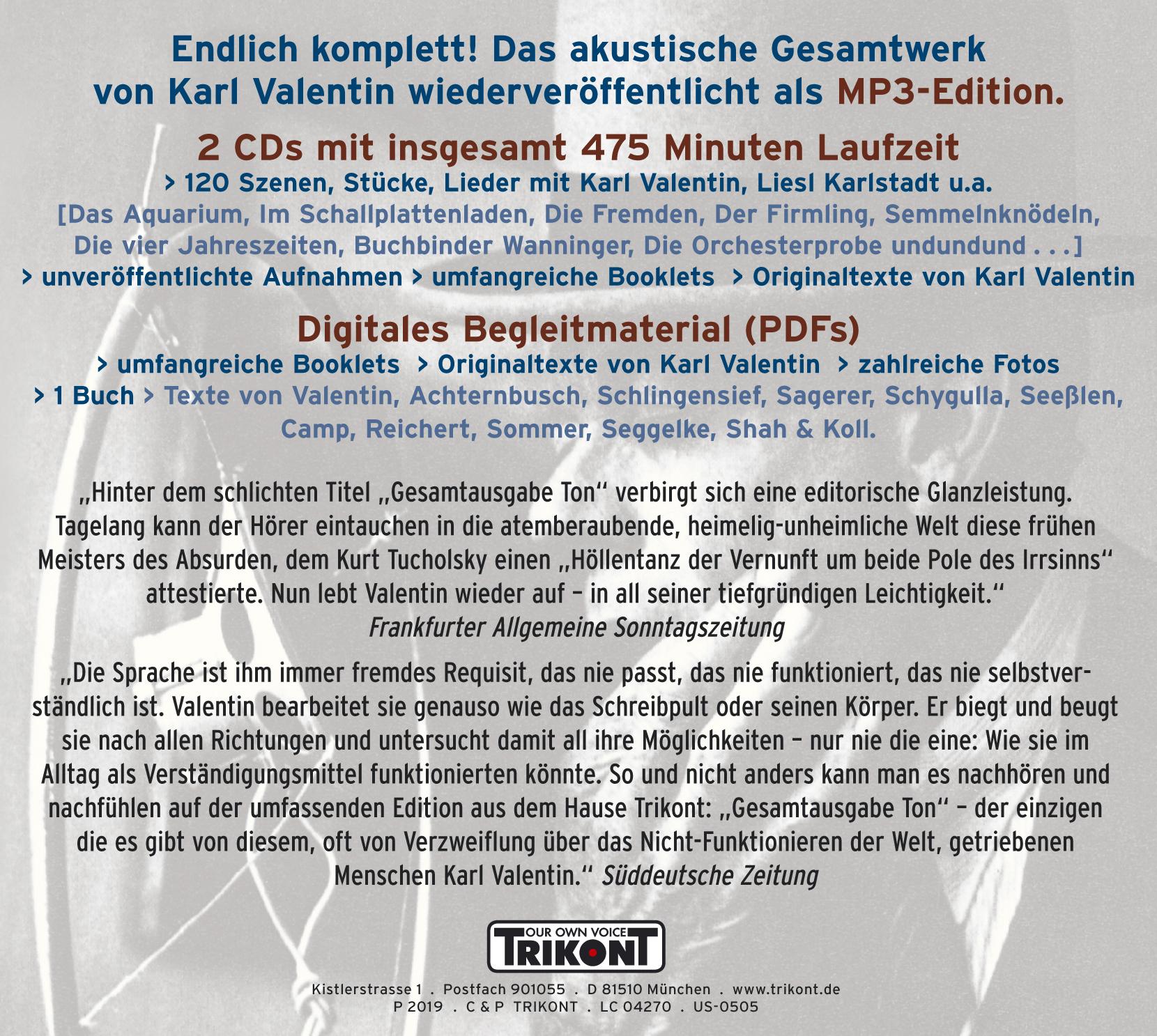 Karl Valentin - Gesamtausgabe Ton / 1928-1947 (MP3-Version) 1